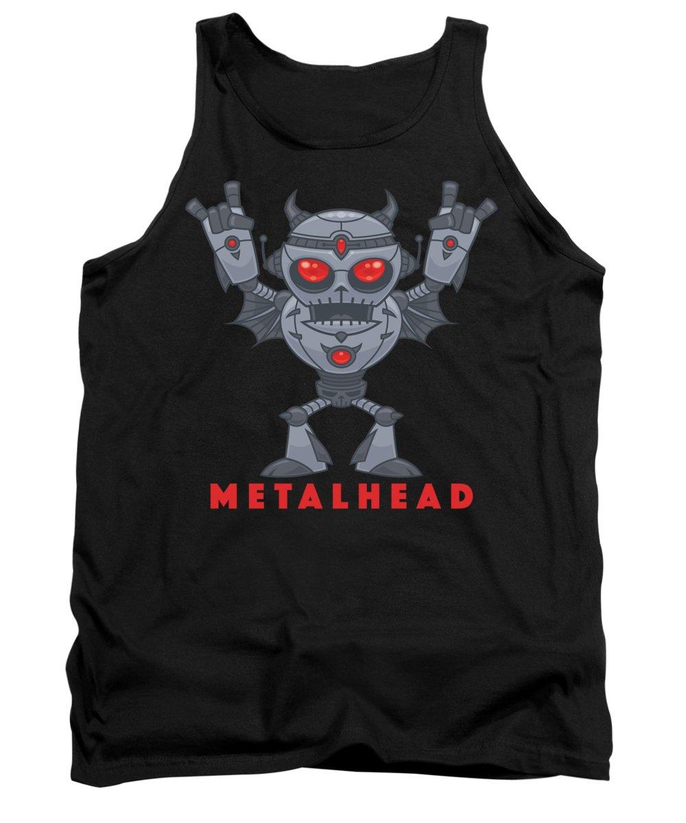 Robot Tank Top featuring the digital art Metalhead - Heavy Metal Robot Devil - With Text by John Schwegel