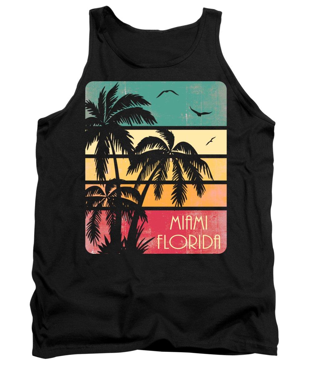 Miami Tank Top featuring the digital art Miami Florida Vintage Summer by Filip Schpindel
