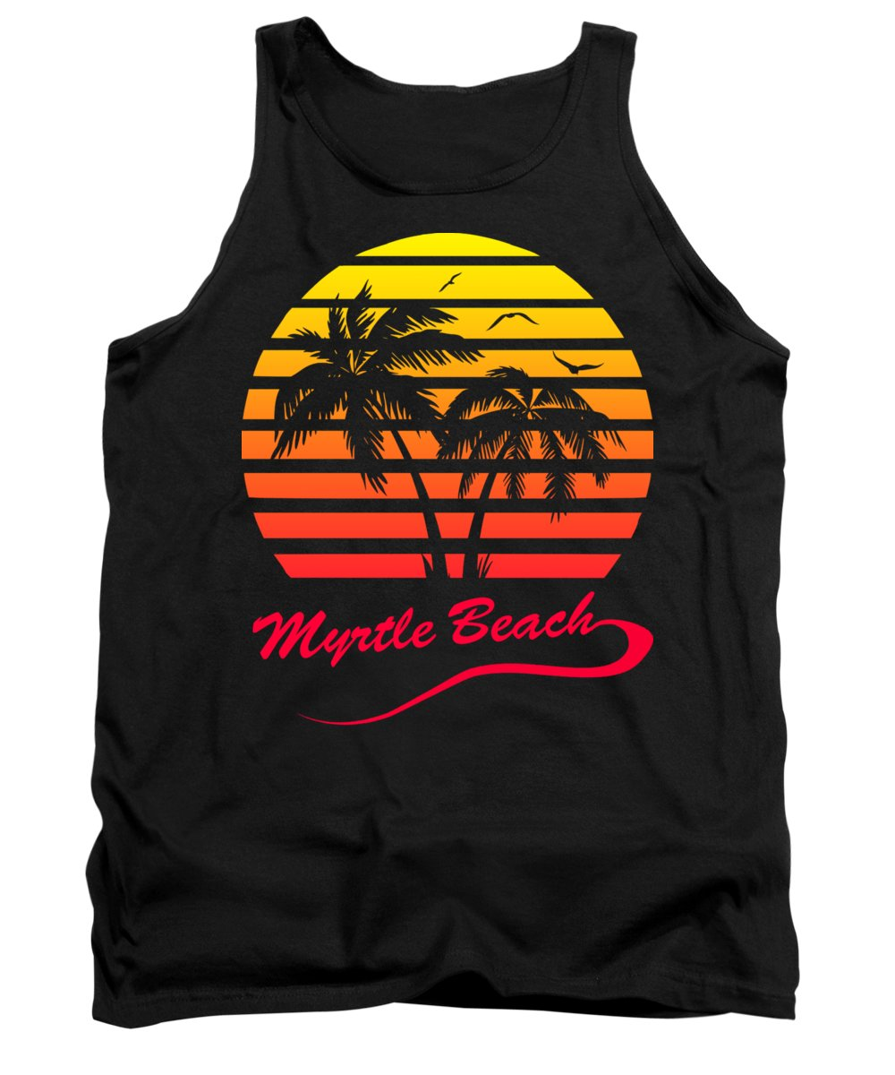 Myrtle Beach Tank Top featuring the digital art Myrtle Beach Sunset by Filip Schpindel