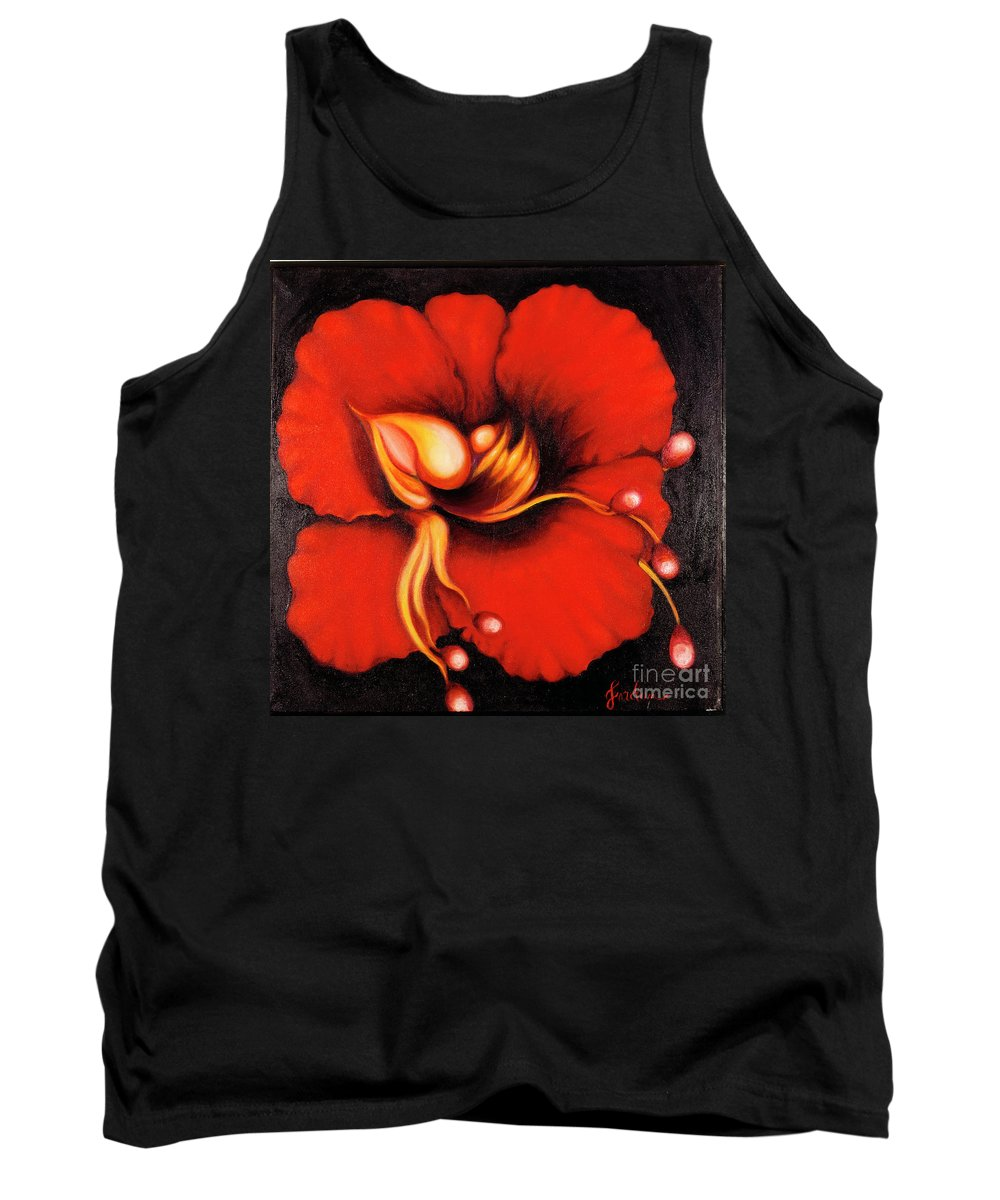 Red Surreal Bloom Artwork Tank Top featuring the painting Passion Flower by Jordana Sands