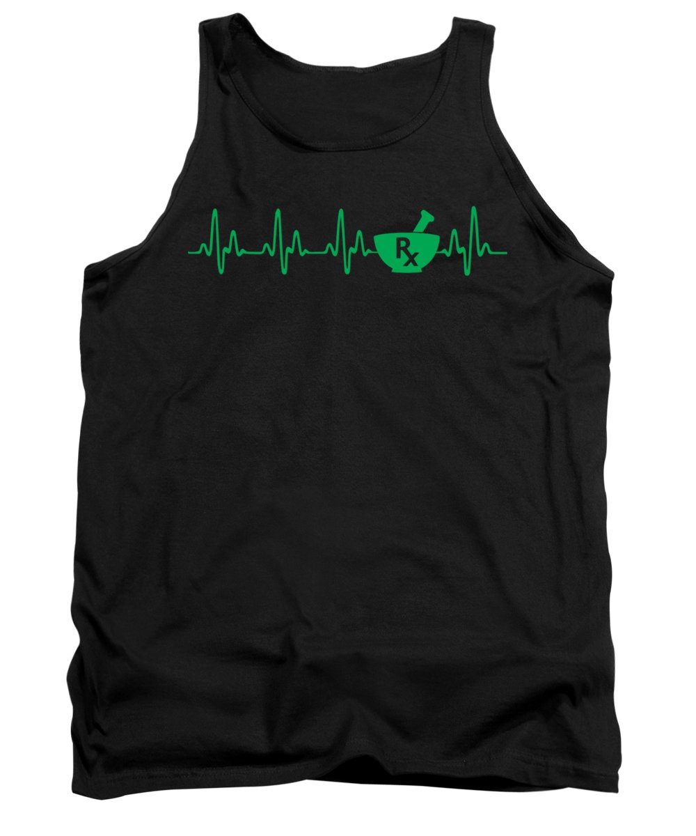 Doctor Tank Top featuring the digital art Pharmacy Heartbeat Pharmacist Apparel by Michael S