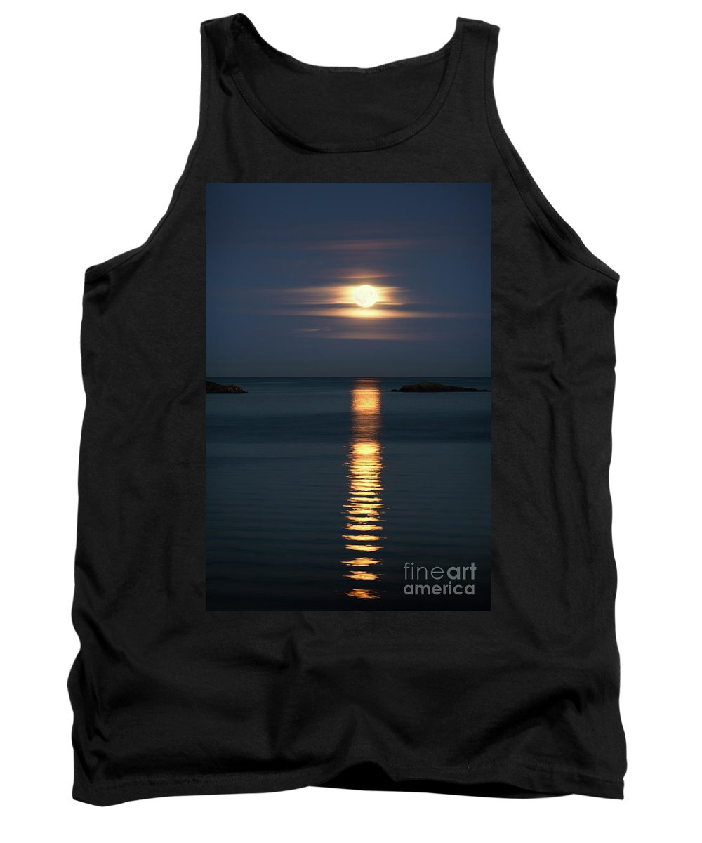 Moon Tank Top featuring the photograph Rise Of The Full Harvest Moon Above Pacific Ocean by Awen Fine Art Prints