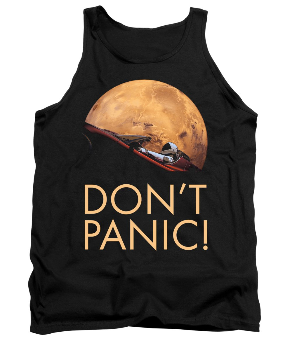 Dont Panic Tank Top featuring the photograph Starman Don't Panic In Orbit Around Mars by Filip Schpindel