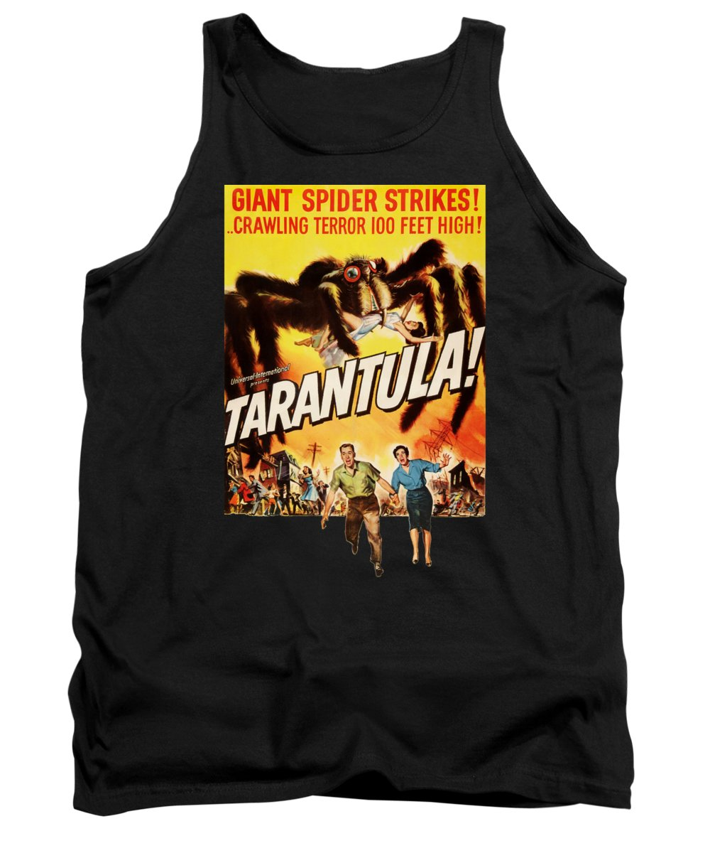 Spider Tank Top featuring the digital art Tarantula Movie Poster by Filip Hellman