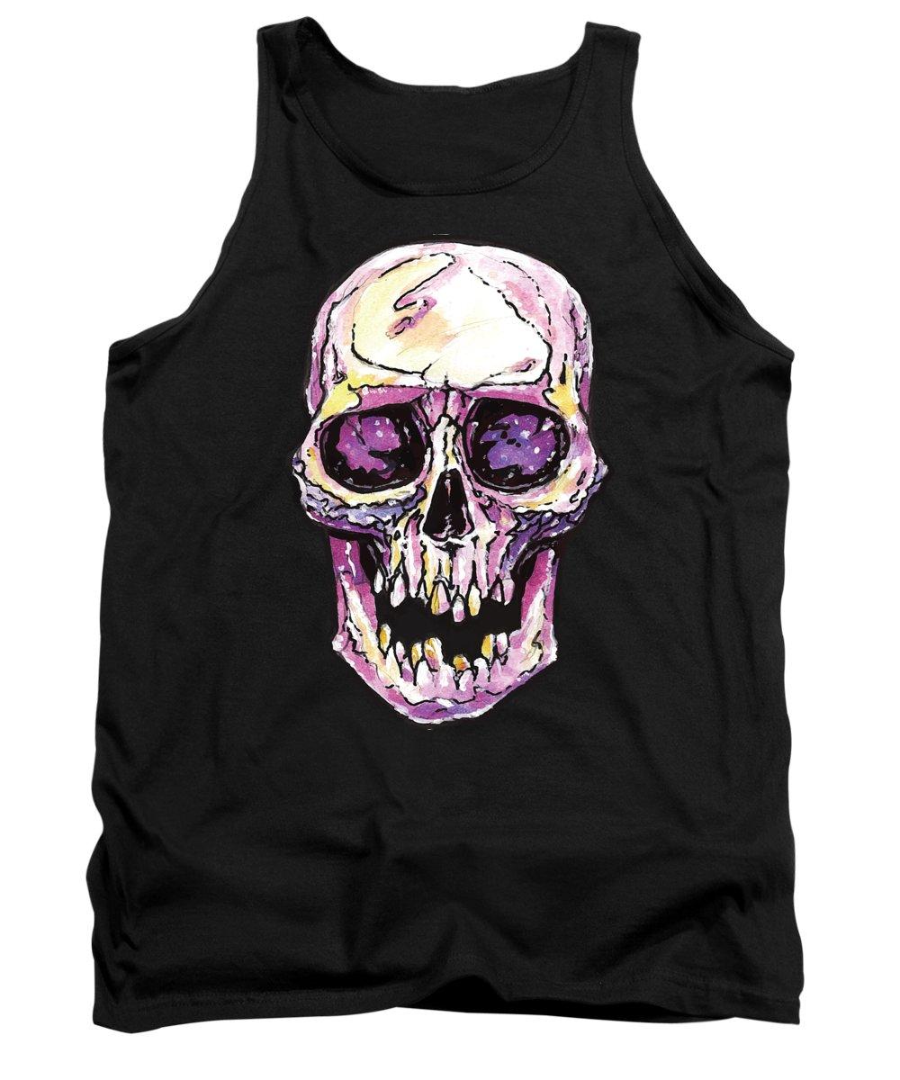 Cranium Tank Top featuring the digital art Watercolor Skull Cranium by Passion Loft