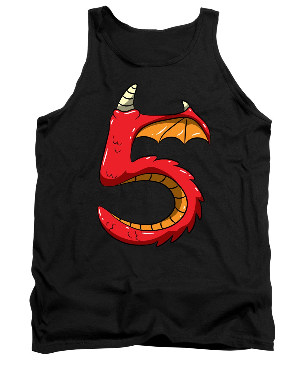 Gift Tank Top featuring the digital art 5 Years Old Birthday 5th Birthday Dragon Gift Idea by J M