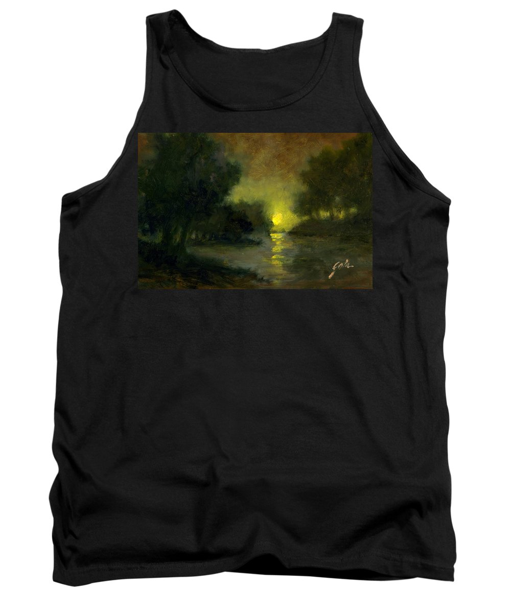 Miniaturesoil Paintings Tank Top featuring the painting A Dusky Evening by Jim Gola
