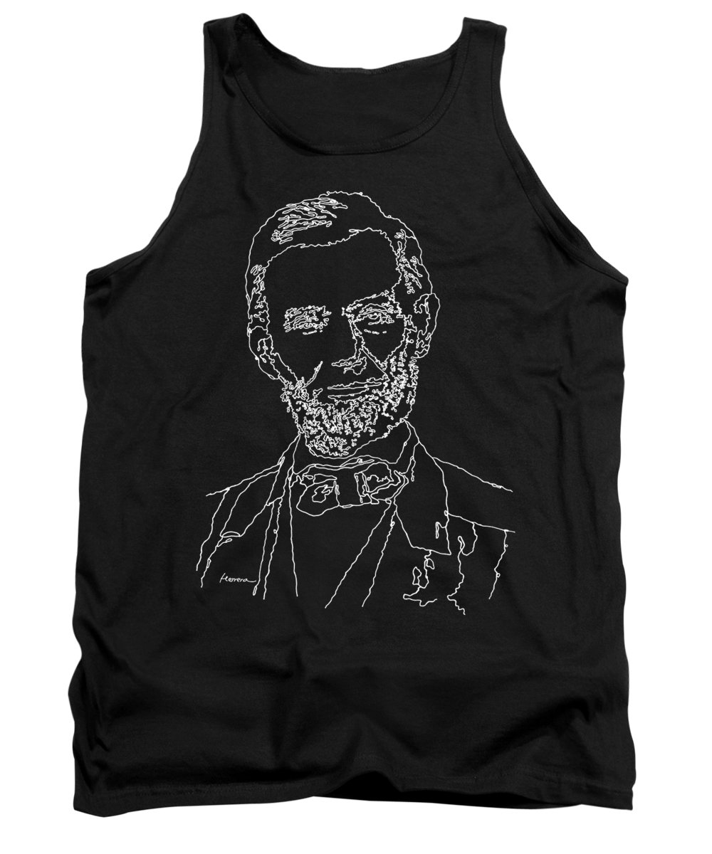 Braham Tank Top featuring the painting Abraham Lincoln Drawing on black by Hailey E Herrera