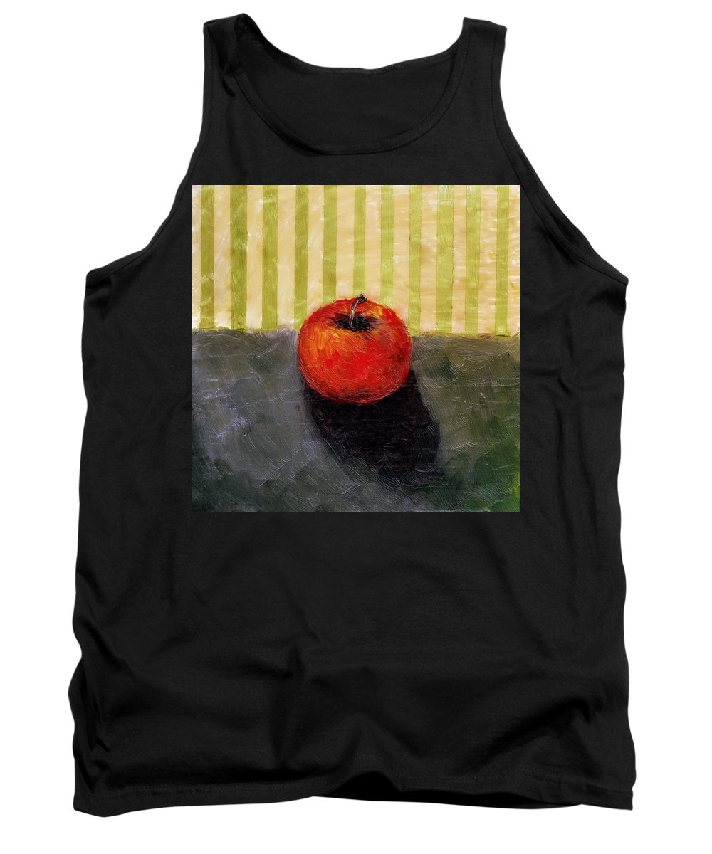 Apple Tank Top featuring the painting Apple Still Life with Grey and Olive by Michelle Calkins