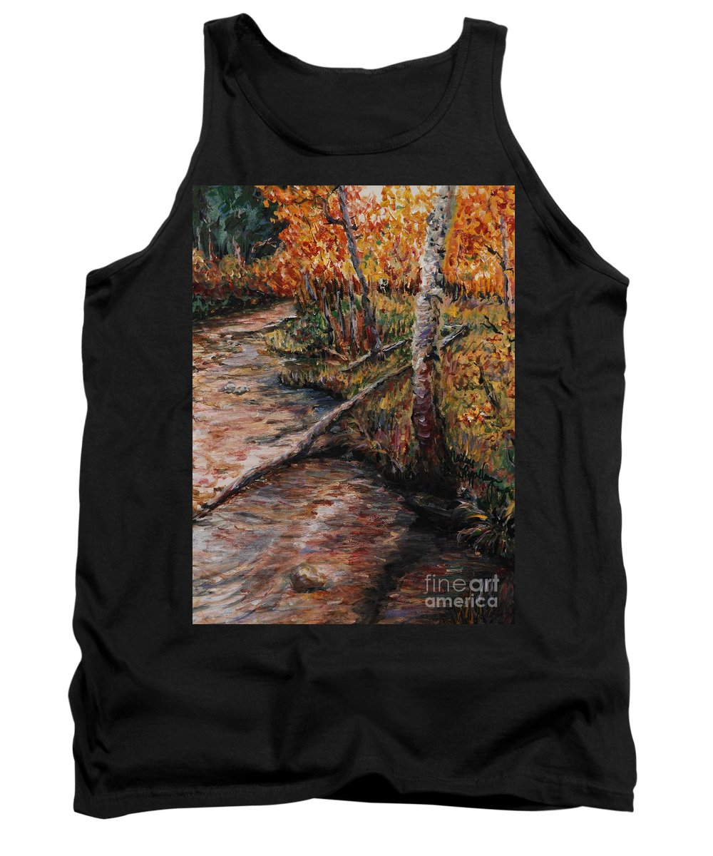 Landscape Tank Top featuring the painting Autumn Reflections by Nadine Rippelmeyer