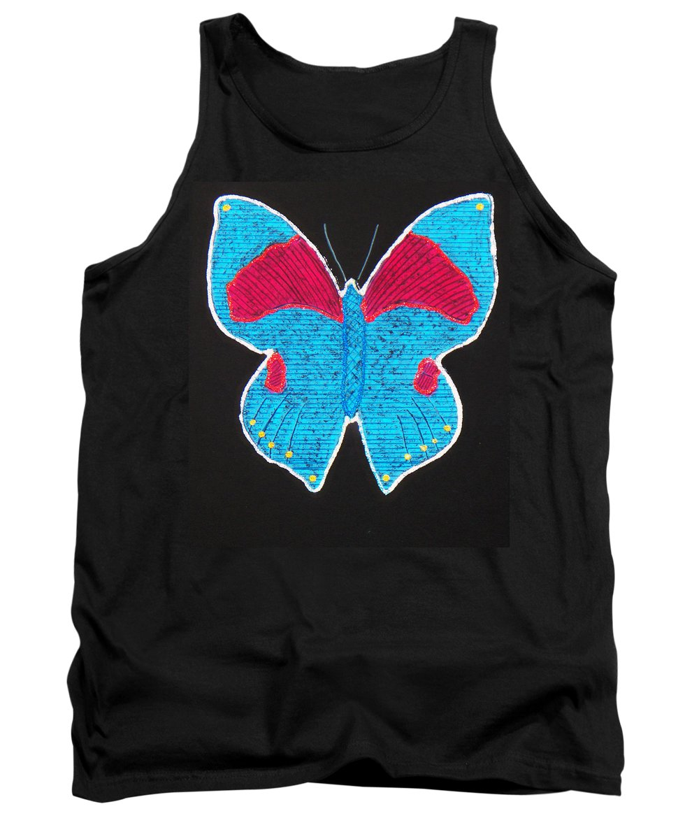 Drawing Tank Top featuring the mixed media Butterfly by Sergey Bezhinets
