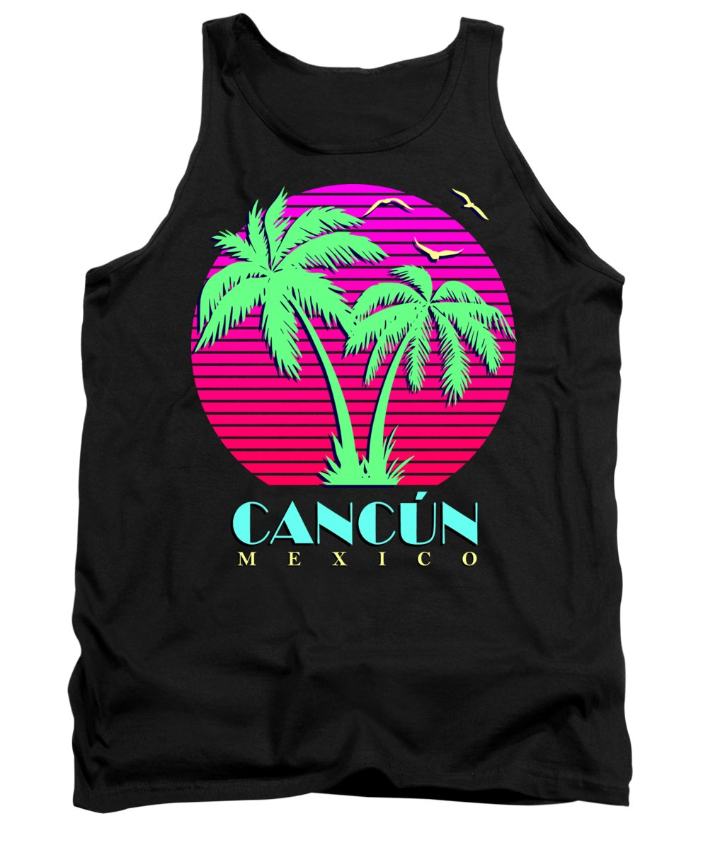 Classic Tank Top featuring the digital art Cancun Mexico Retro Palm Trees Sunset by Filip Schpindel