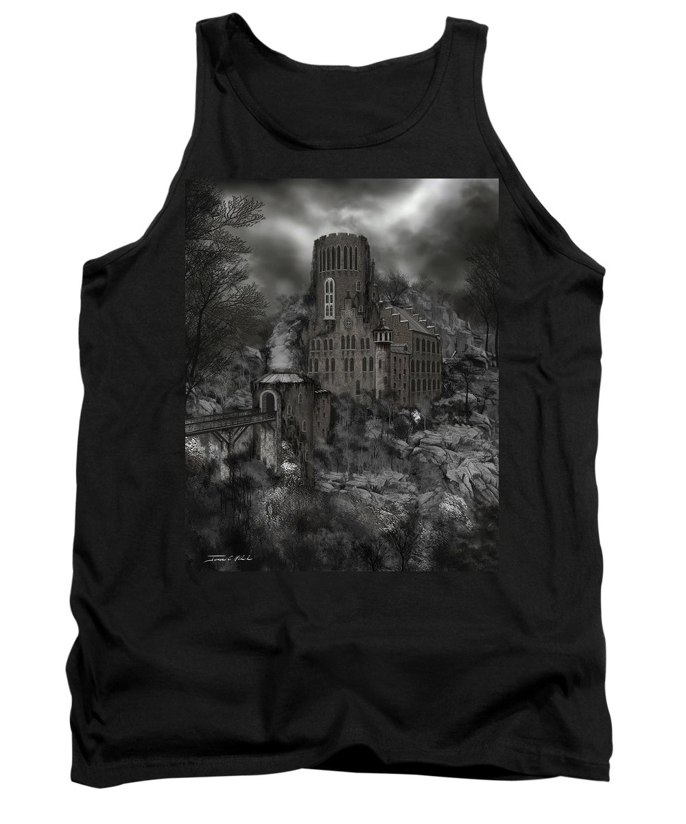 Castle Tank Top featuring the painting Casa Los Diavla by James Christopher Hill
