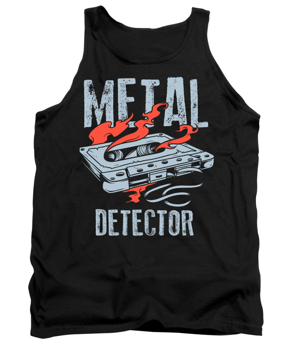 Funny Tank Top featuring the digital art Cassette Tape Metal Detector by Jacob Zelazny