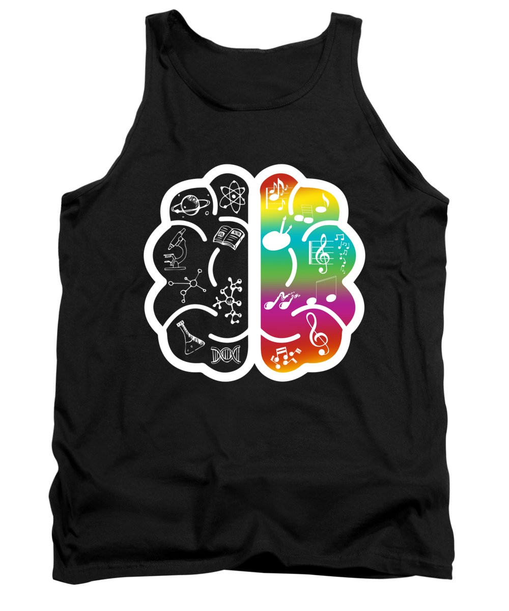 Music Tank Top featuring the digital art Colorful Art Music And Science Nerdy Brain Gift by J M
