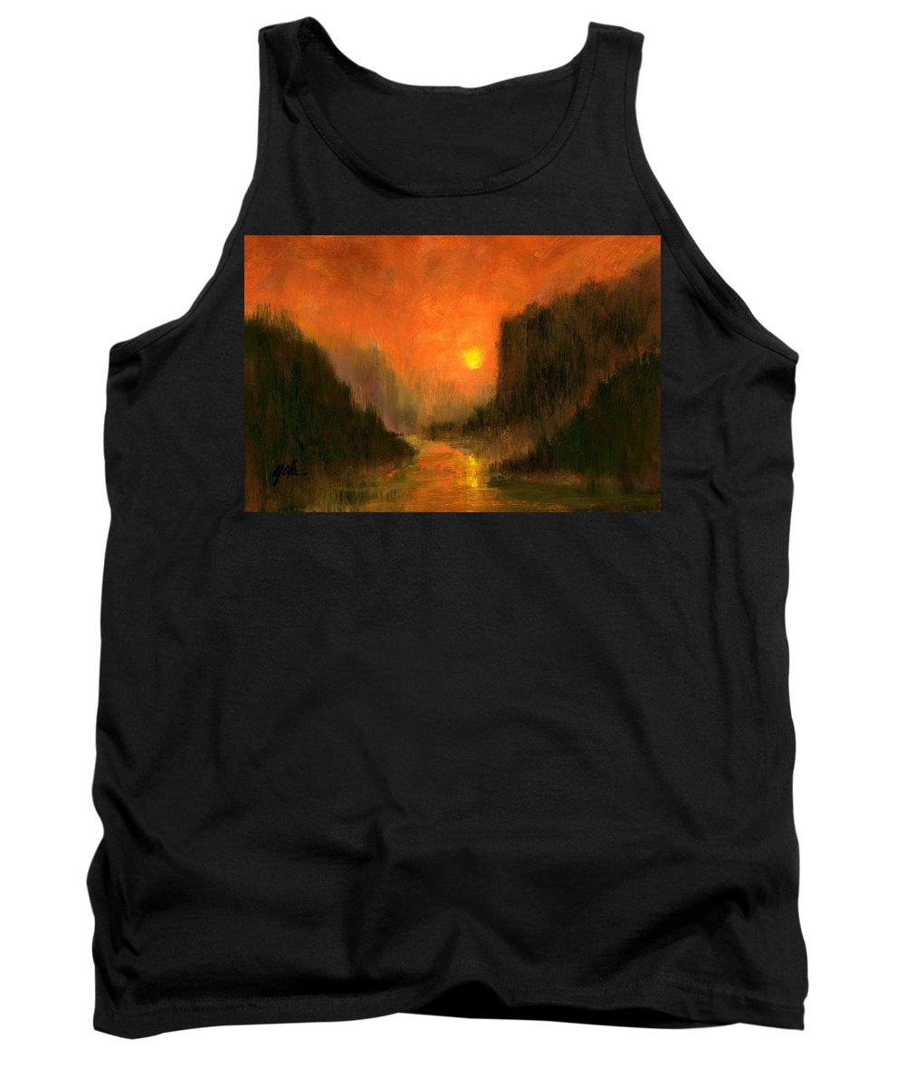 Miniatures Oil Paintings Tank Top featuring the painting Columbia Gorge Nocturn by Jim Gola
