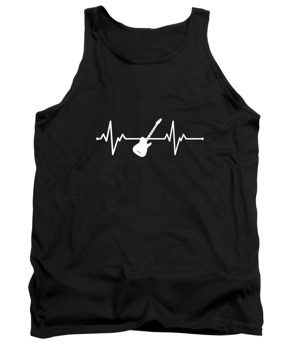 Guitar Tank Top featuring the digital art Cool Heartbeat Guitar Gift Idea by J M