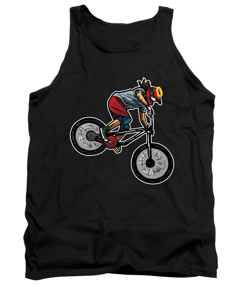 Jesus Tank Top featuring the digital art Cool Jesus Mountain Biking Gift Idea by J M