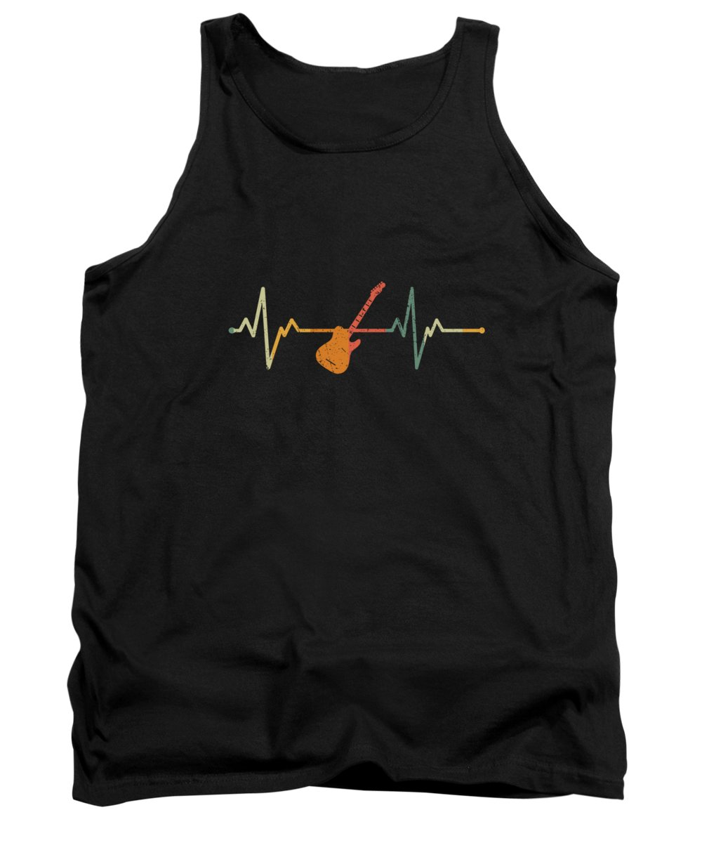Rock Music Tank Top featuring the digital art Cool Vintage Heartbeat Rock Guitar Gift Idea by J M