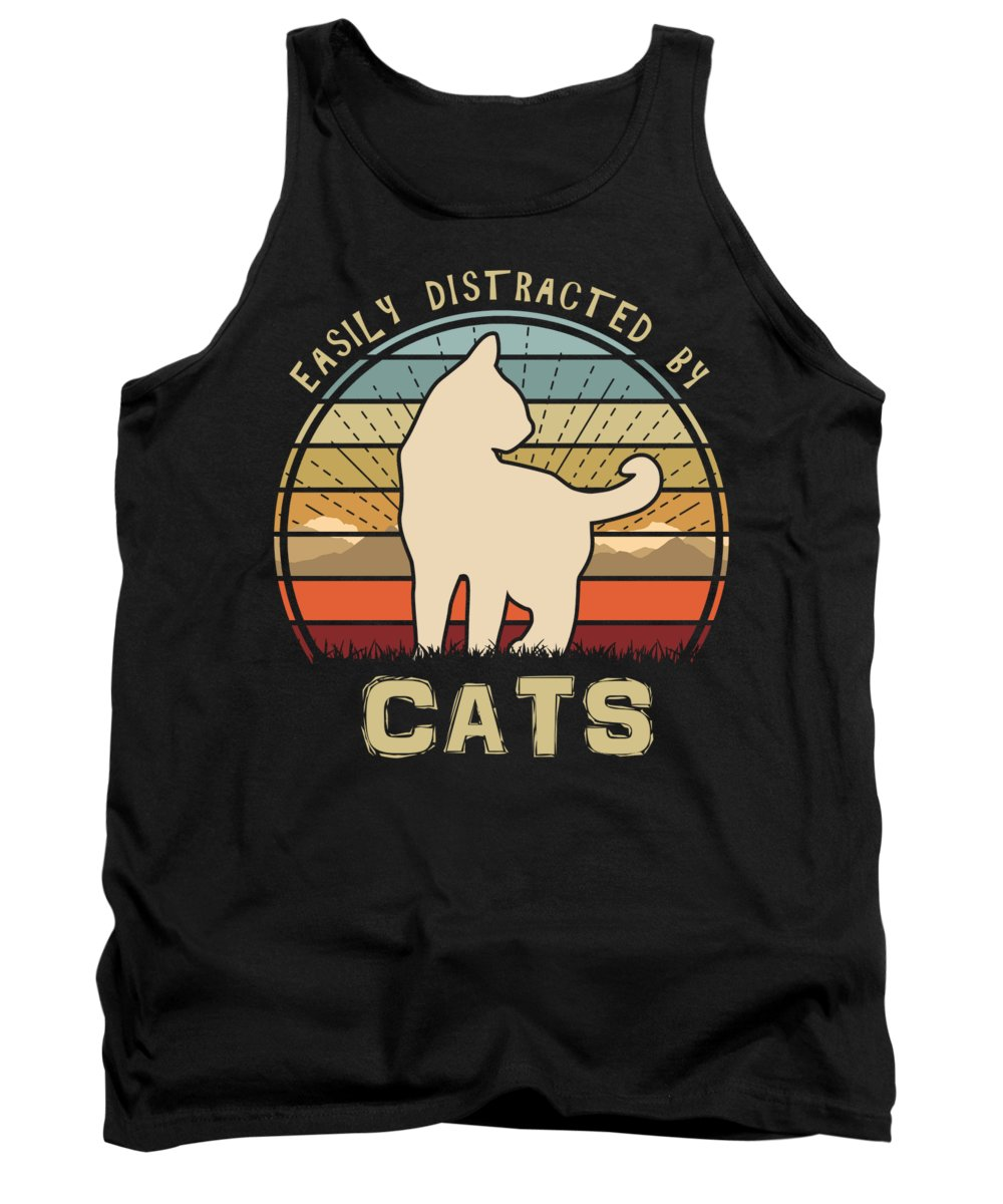 Easily Tank Top featuring the digital art Easily Distracted By Cats Mountain Sunset by Filip Schpindel