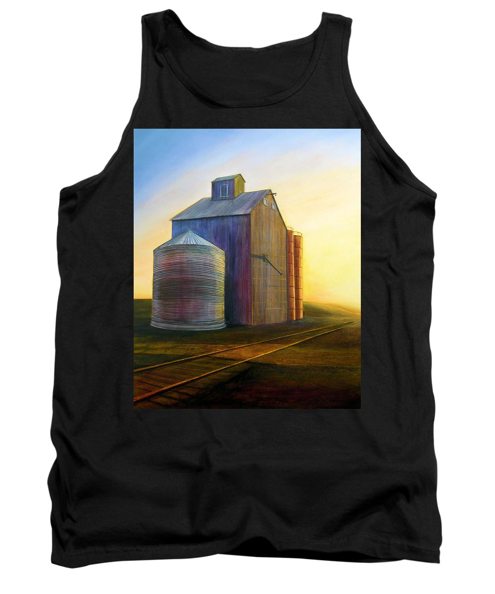 Silos Tank Top featuring the painting Estes Road Twilight by Leonard Heid