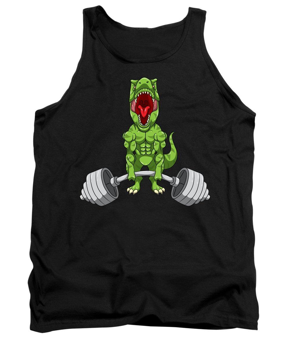 T Rex Tank Top featuring the digital art Fitness Bodybuilder Sports Dinosaur TRex Gift by J M