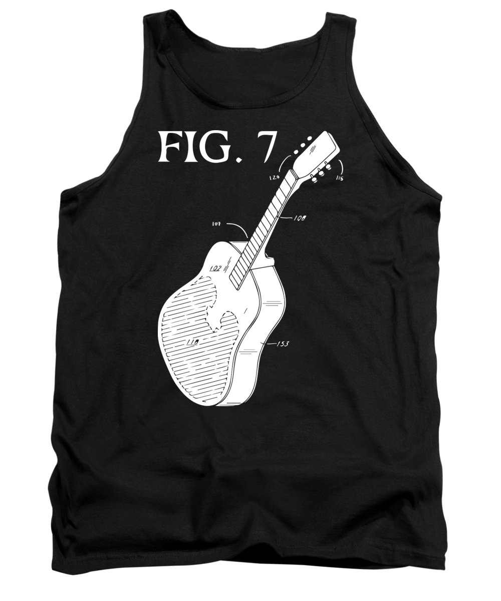 Music Tank Top featuring the digital art Guitar Diagram by Jacob Zelazny