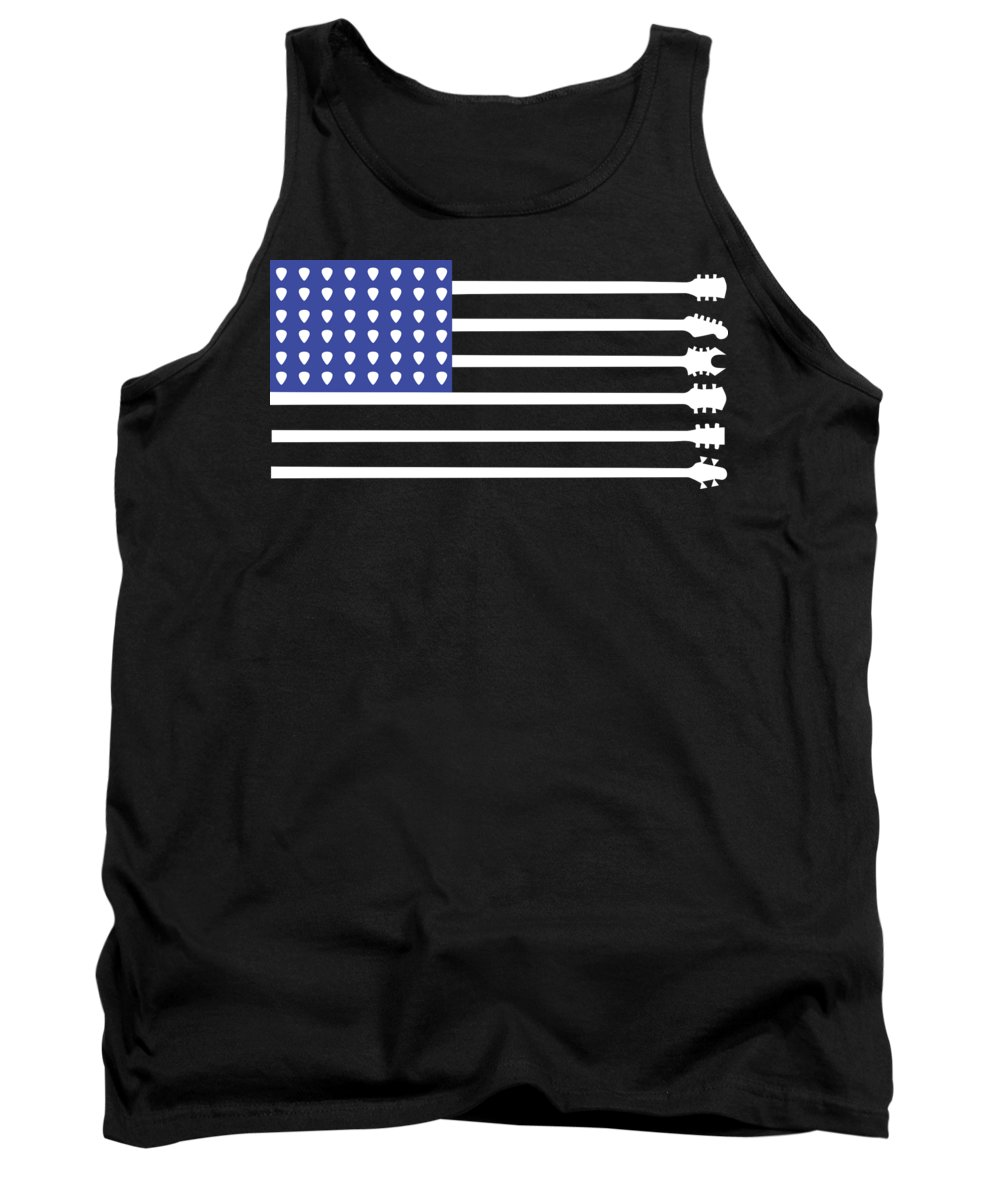 Music Tank Top featuring the digital art Guitar Flag by Jacob Zelazny