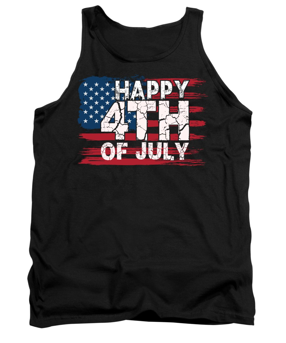 Thank You Tank Top featuring the digital art Happy 4th of July American Flag by Jacob Zelazny