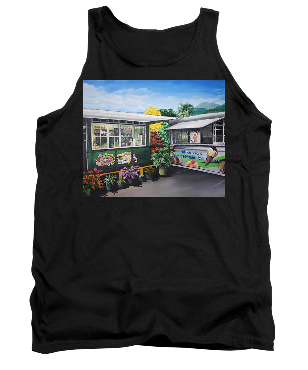 Houses Tank Top featuring the painting Ice Cream Parlor by Karin Dawn Kelshall- Best