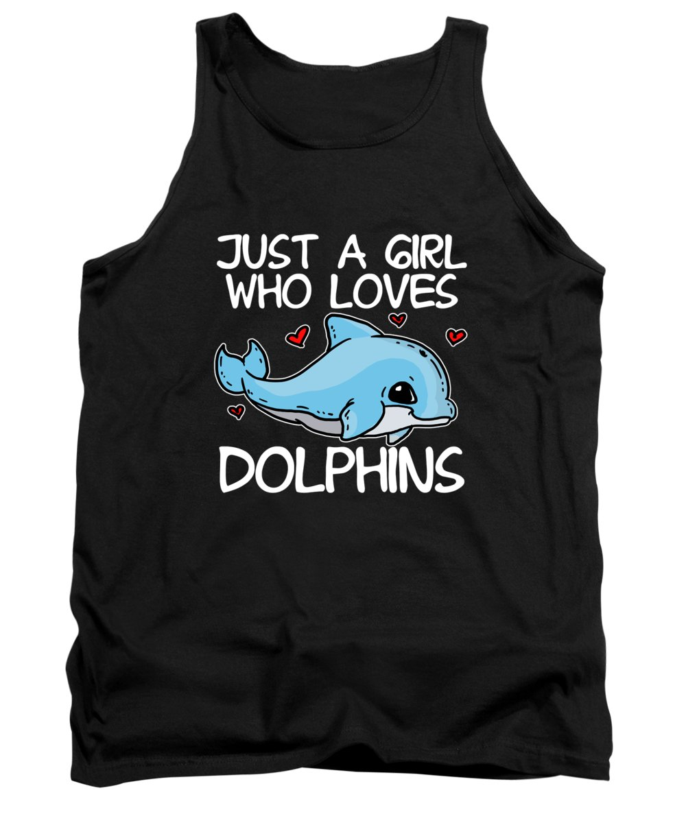 Fish Tank Top featuring the digital art Just A Girl Who Loves Dolphins Cute Blue Dolphin by J M