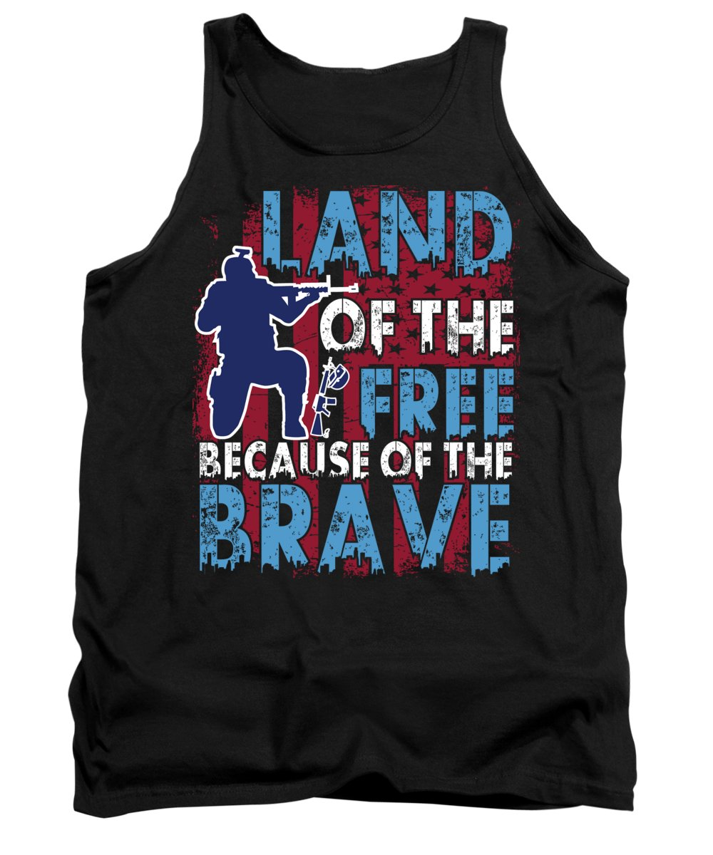Thank You Tank Top featuring the digital art Land of the Free Because of the Brave by Jacob Zelazny