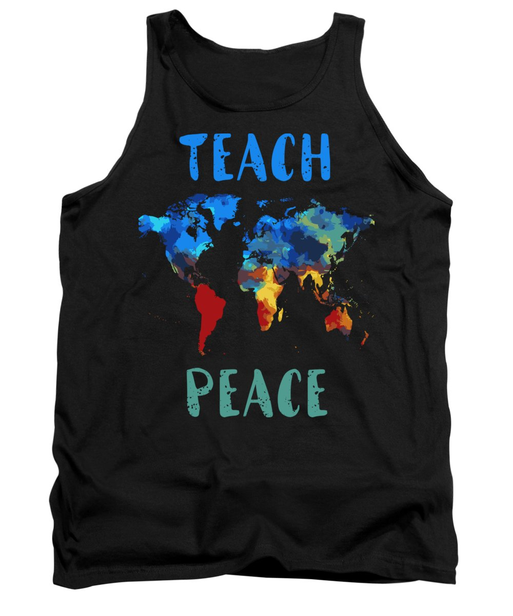 Idiots Tank Top featuring the mixed media Peace Shirt For Anyone Teach Peace Tshirt Design Gun Control Tshirt Peace Love Shooting by Roland Andres