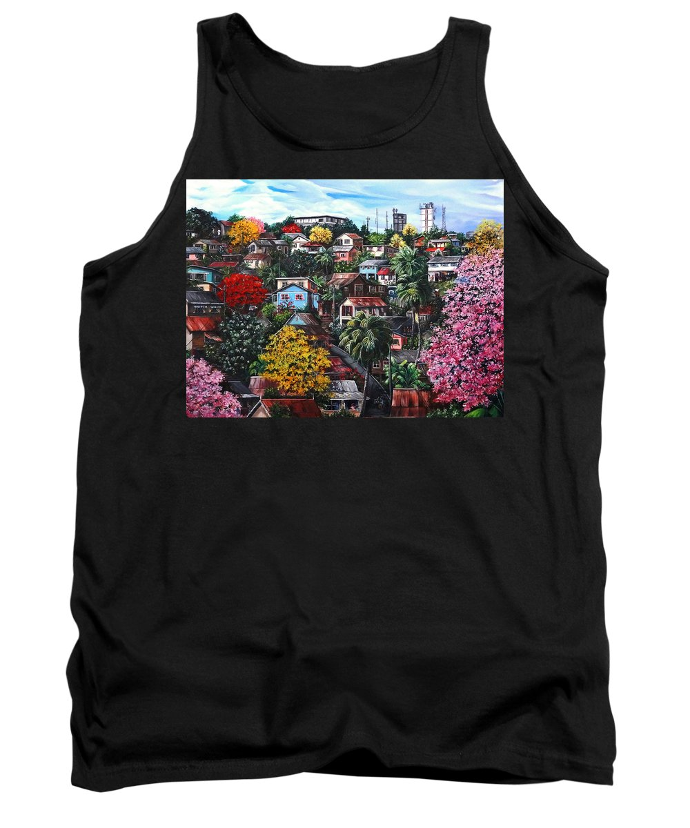 Landscape Painting Cityscape Painting Caribbean Painting Houses Hill Life Color Trees Poui Blossoms Trinidad And Tobago Floral Tropical Caribbean Tank Top featuring the painting Poui Calling For The Rains by Karin Dawn Kelshall- Best