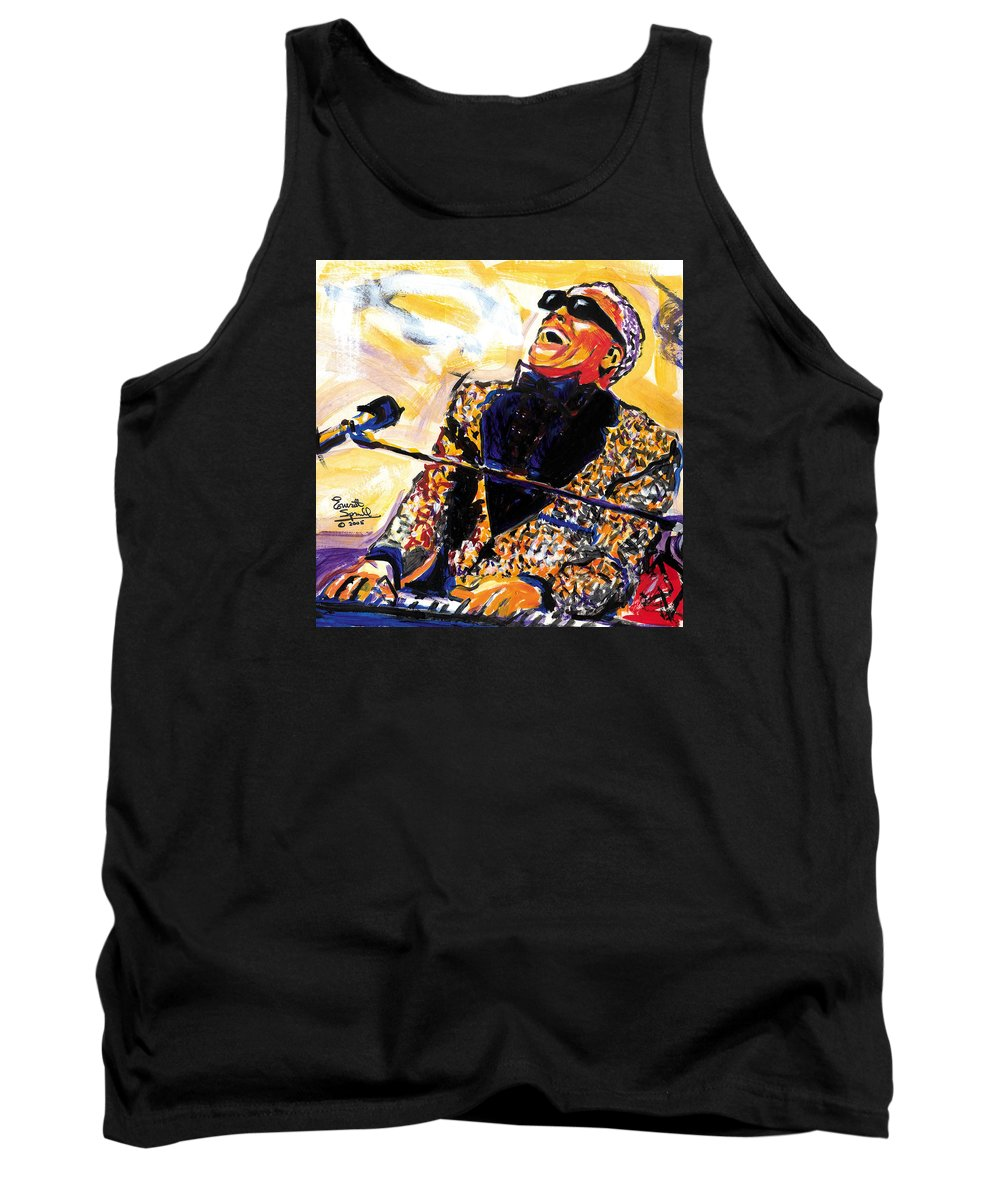 Everett Spruill Tank Top featuring the painting Ray Charles by Everett Spruill