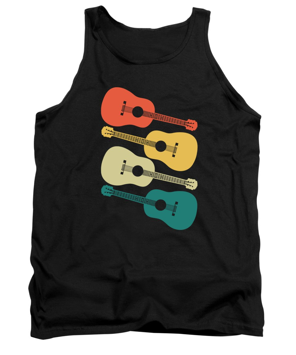 Acoustic Guitar Tank Top featuring the digital art Retro Acoustic Guitar Instrument Gift Music Guitar by J M