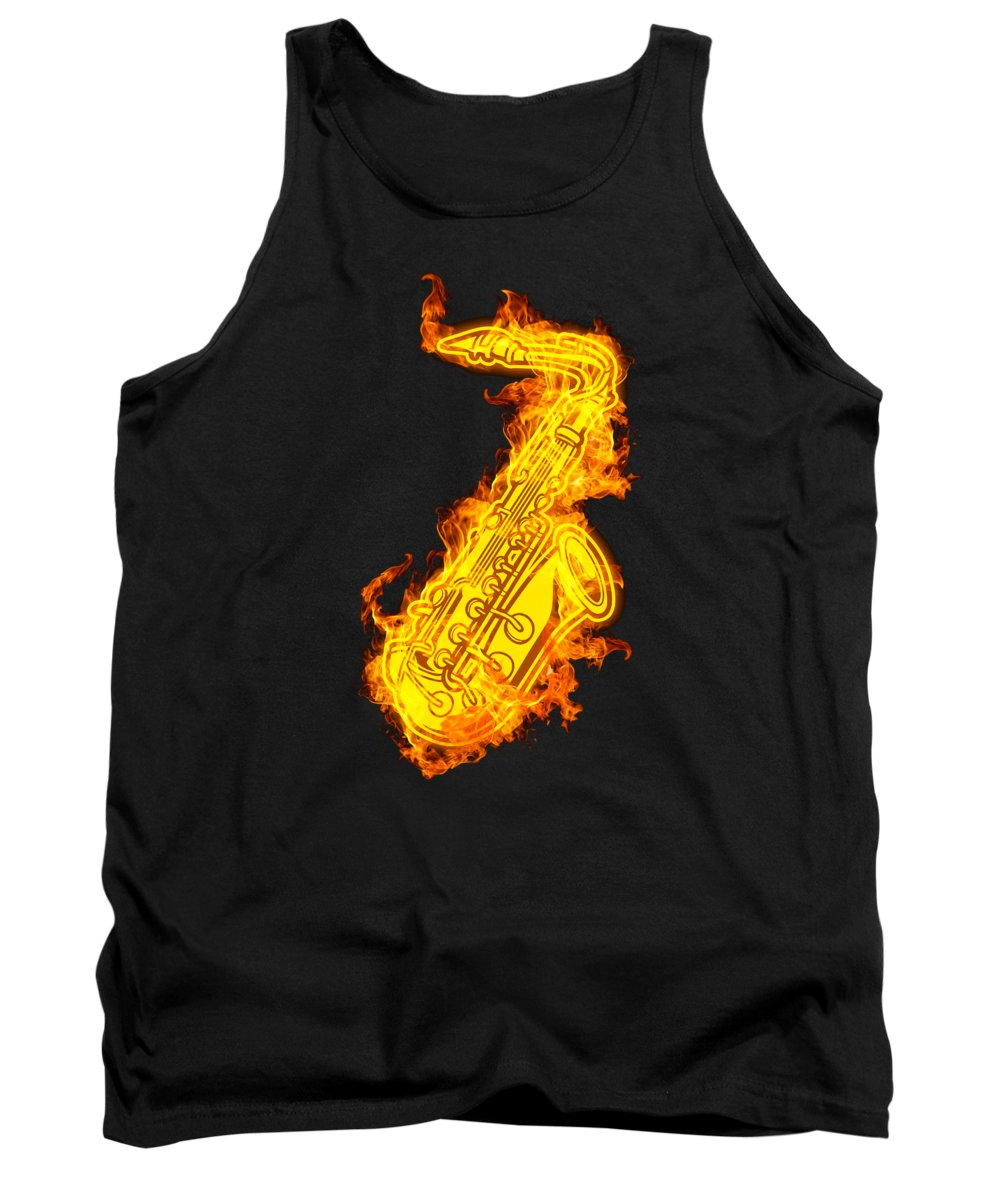 Saxophone Tank Top featuring the digital art Saxophone On Fire Jazz Sax Lover Gift Idea by J M