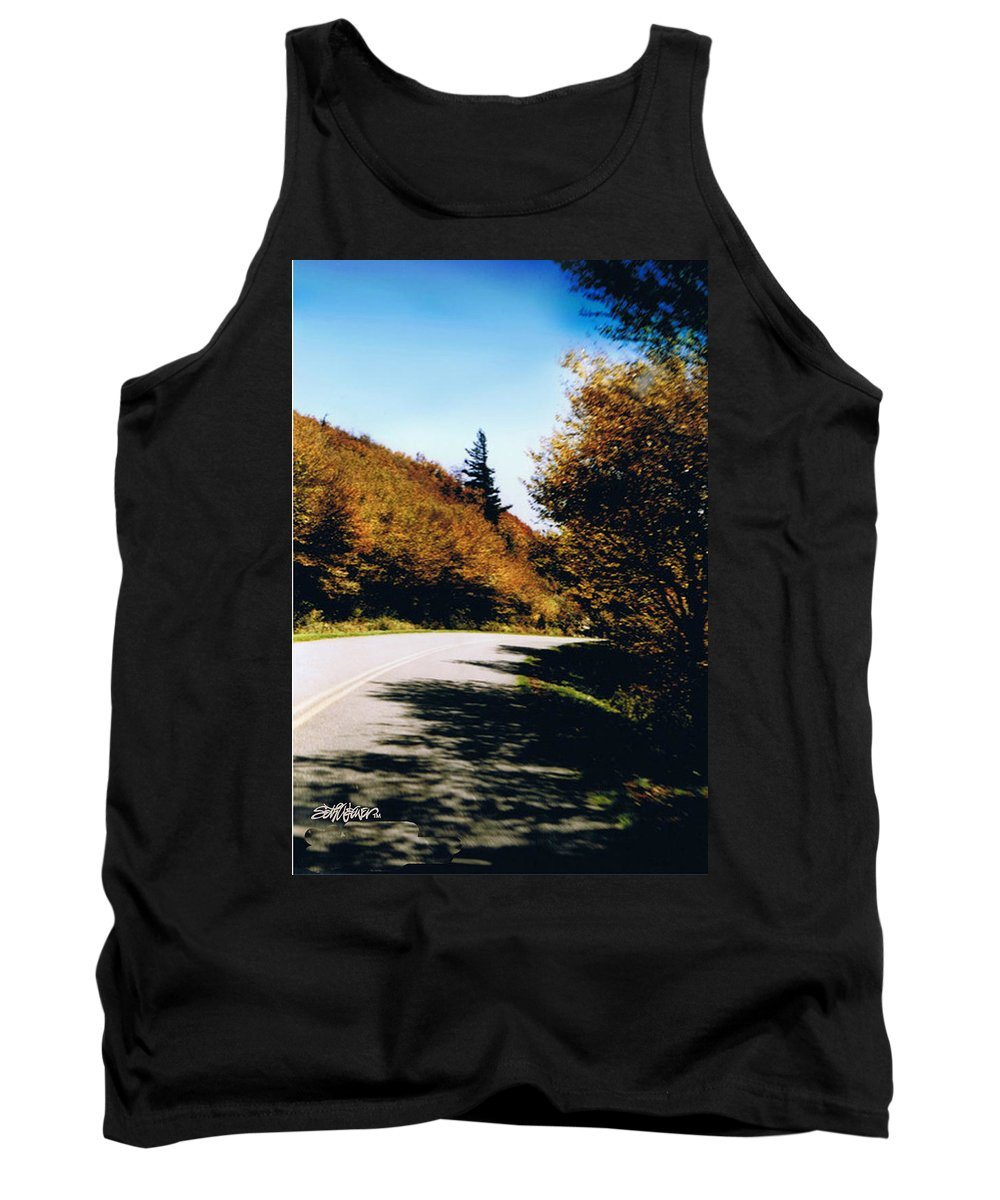 High In The Great Smoky Mtn. As You Round A Curve Stands This Noble Spruce. Tank Top featuring the photograph Single Spruce by Seth Weaver