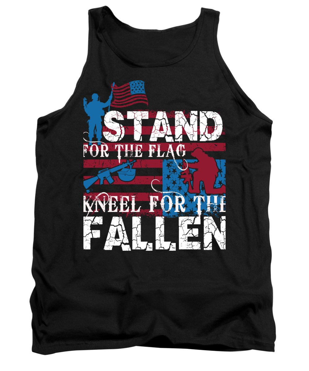 Thank You Tank Top featuring the digital art Stand for the Flag Kneel for the Fallen by Jacob Zelazny