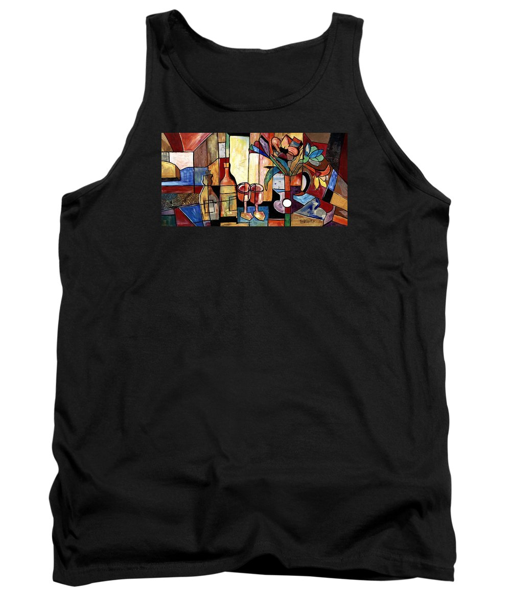 Everett Spruill Tank Top featuring the painting Still Life with Wine and Flowers for two take 2 by Everett Spruill