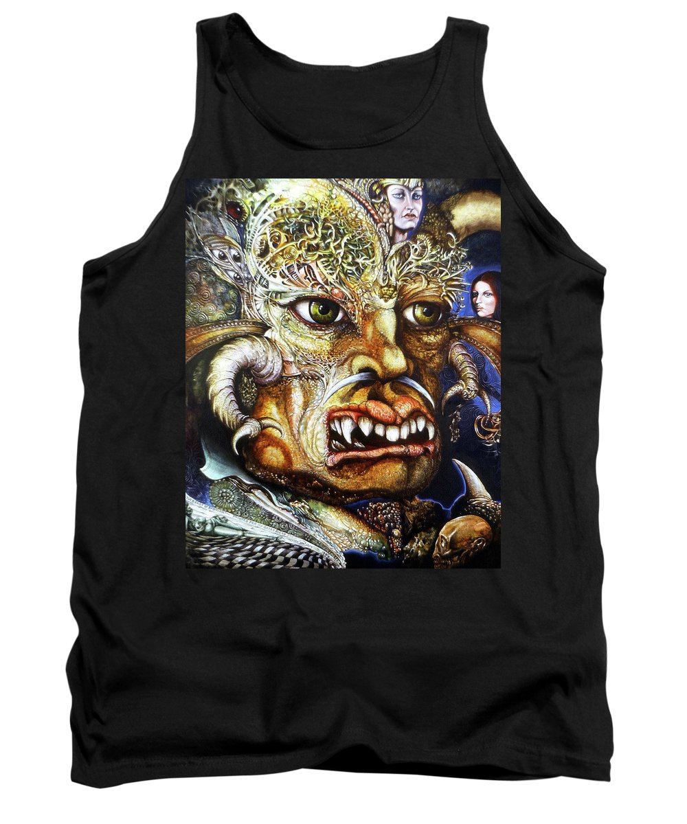 Surrealism Fantastic+realism Mythology Myth Beast Religion Tank Top featuring the painting The Beast Of Babylon II by Otto Rapp