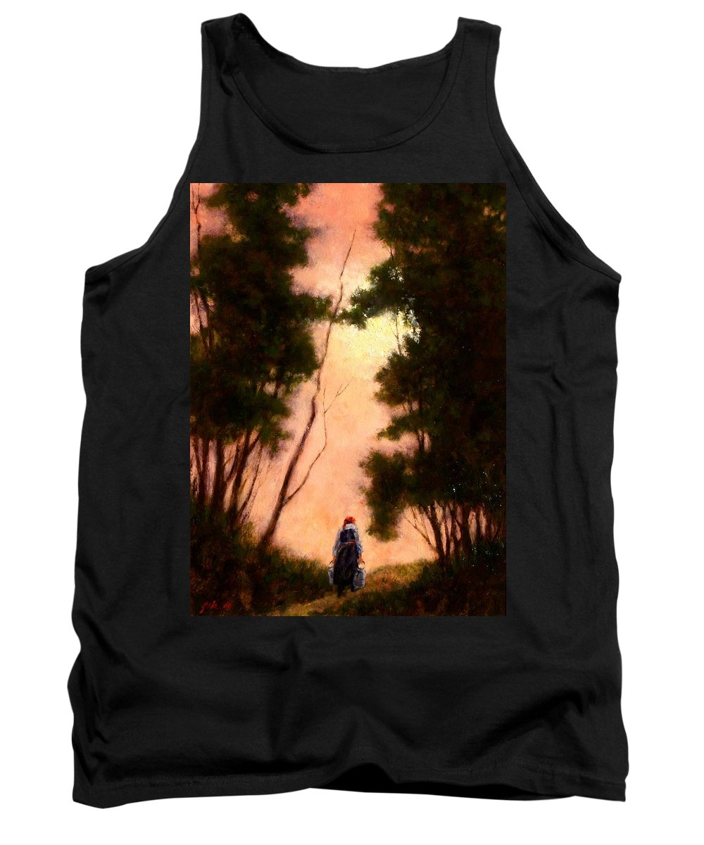 Landscape. Oil Painting Tank Top featuring the painting The Walk Home by Jim Gola