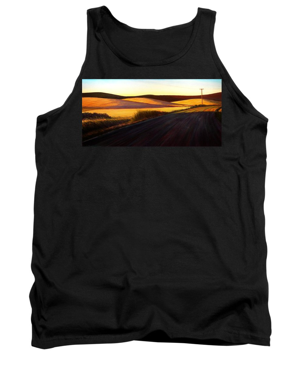 Sunrise Tank Top featuring the painting Three Sisters Morning Hills near Genesee Washington by Leonard Heid