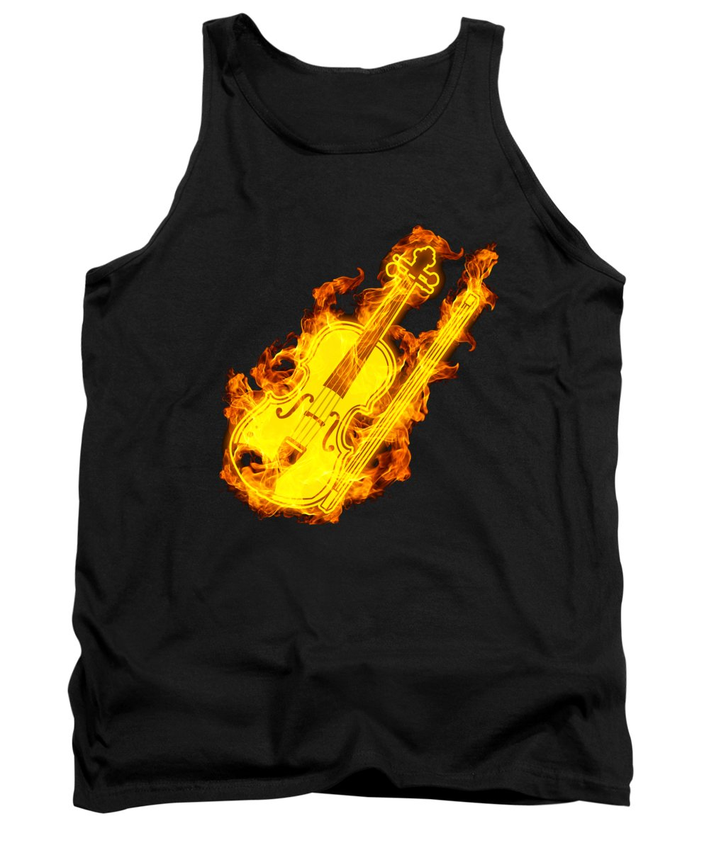 Violin Tank Top featuring the digital art Violin On Fire Music Violin Lover Gift Idea by J M