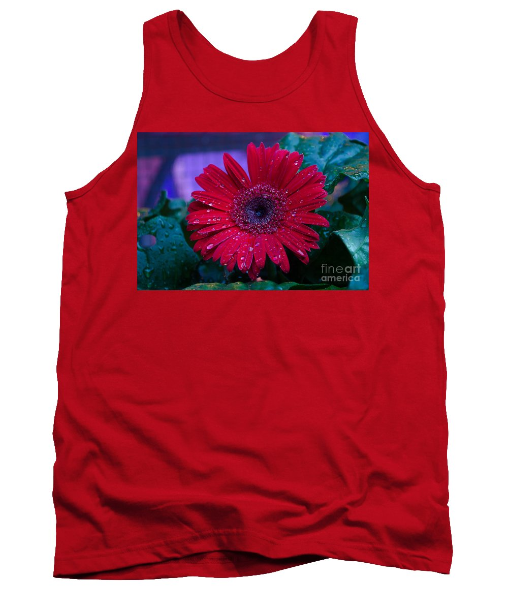 Flower Tank Top featuring the photograph Red Gerbera Daisy by Donna Brown
