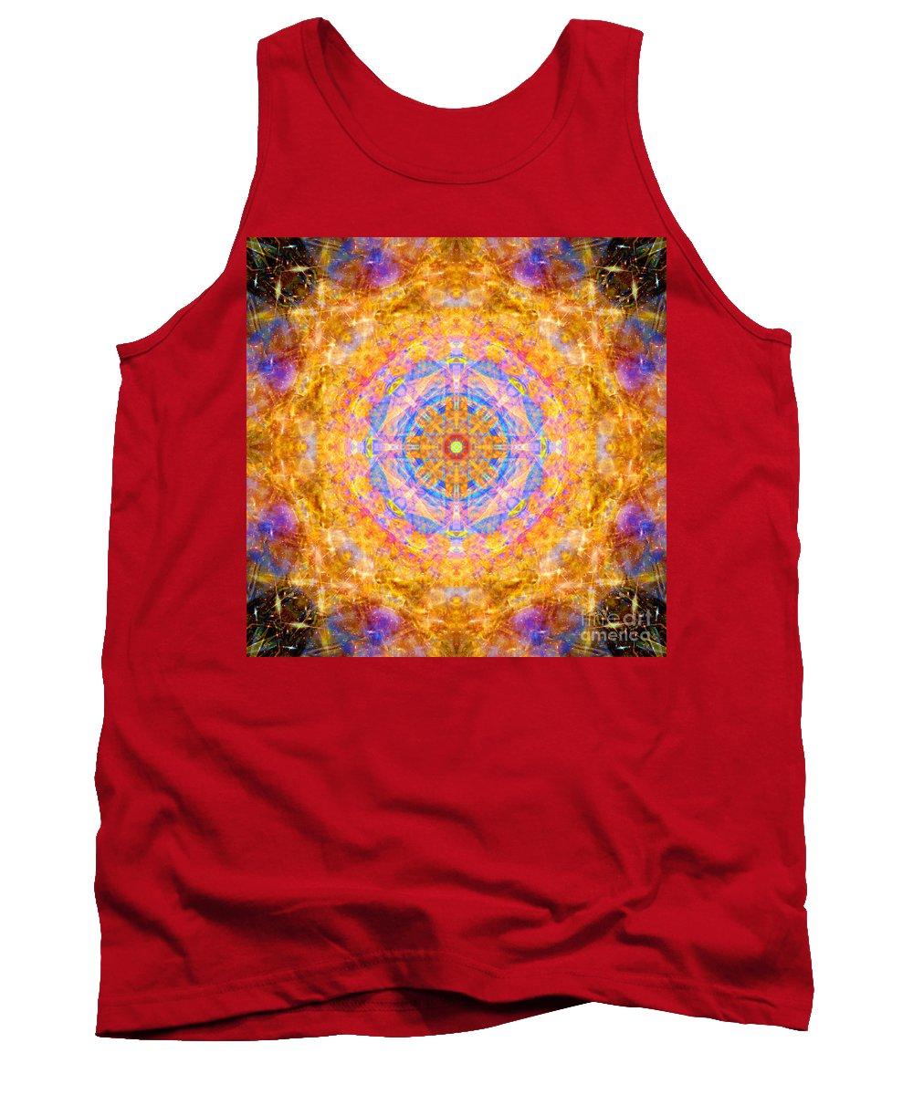 Rainbow Tank Top featuring the photograph Sun Sparkle Mandala by Susan Bloom
