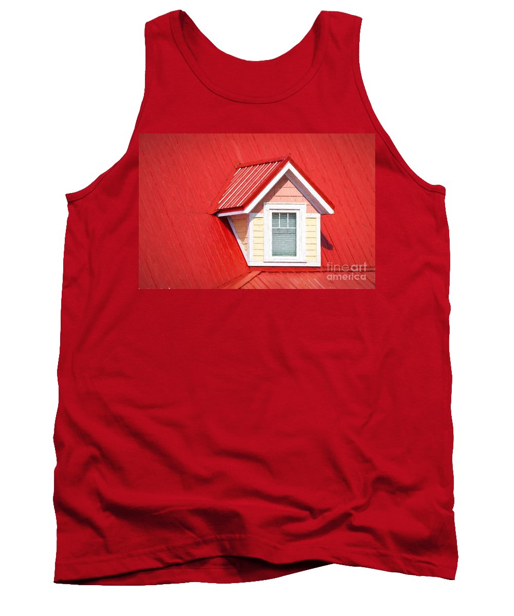 Dormer Tank Top featuring the photograph Dormer Window On Red Roof by Les Palenik