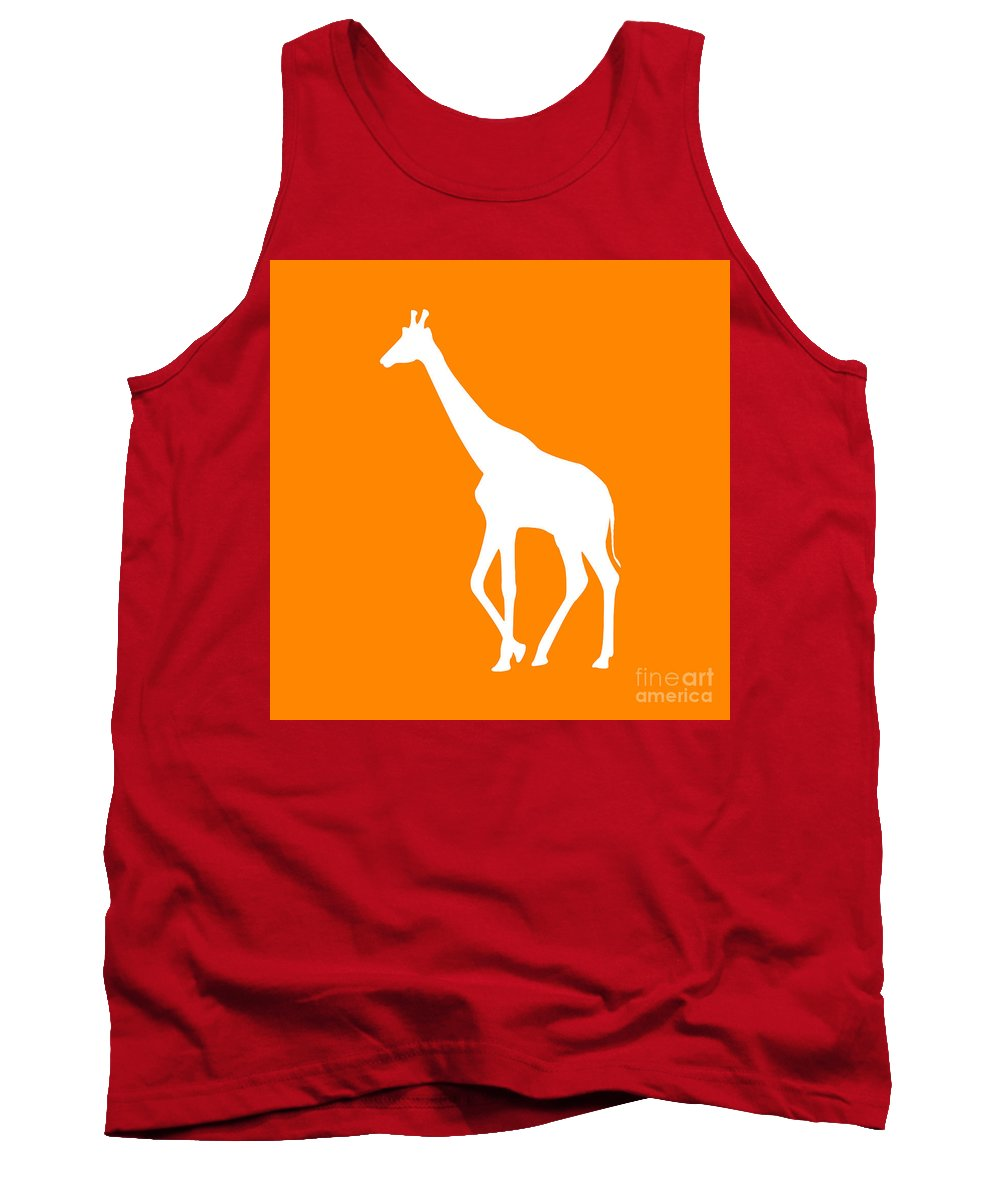 Graphic Art Tank Top featuring the digital art Giraffe In Orange And White by Jackie Farnsworth