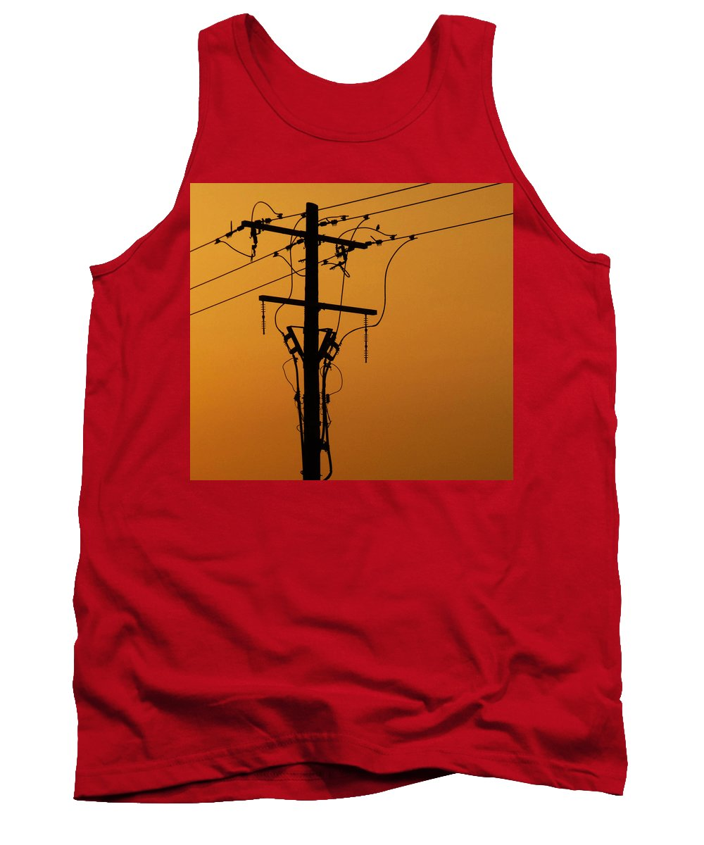 #power Line Tank Top featuring the photograph Power Line Sunset by Don Spenner