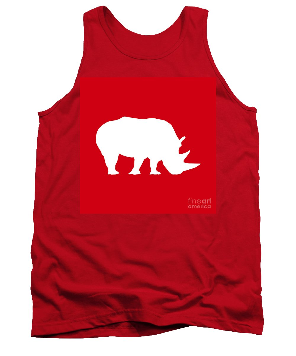 Graphic Art Tank Top featuring the digital art Rhino In Red And White by Jackie Farnsworth